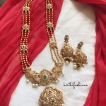 Traditional Long Haram Ad Stone Peacock Necklace Set