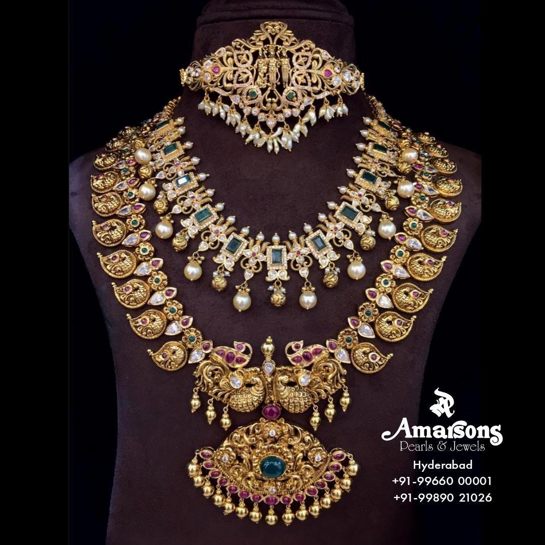 combination-of choker-necklace-long-mango-haram