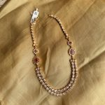 Gold Polish Silver Double Layer Necklace