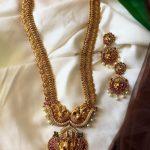 Matte Gold Haram Set With Radhey Krishna Motif