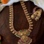 Peacock Motif Antique Polish Necklace Set
