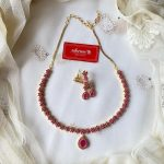 Ruby Flower Neckset With Teardrop