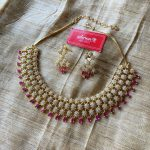 Ruby Tear Drops Nakshatra Necklace Set