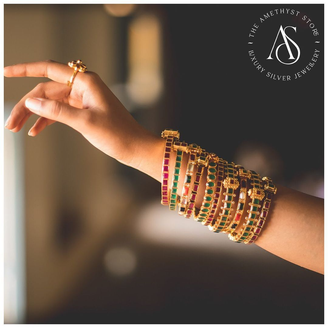 silver-gold-plated-screw-type- bangles