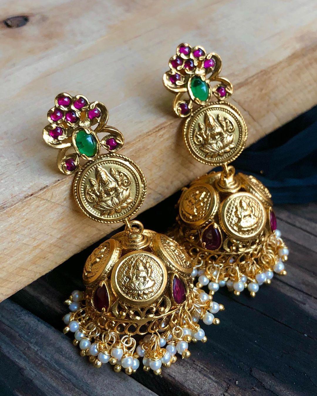 traditional-lakshmi-coin-jhumkas
