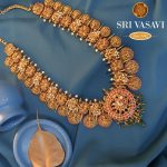 Antique Gold Necklace With Kundan Stones
