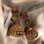 Antique Ruby Lakshmi Temple Jhumkas