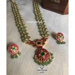 Green Beads Necklace With Kundan Pendant