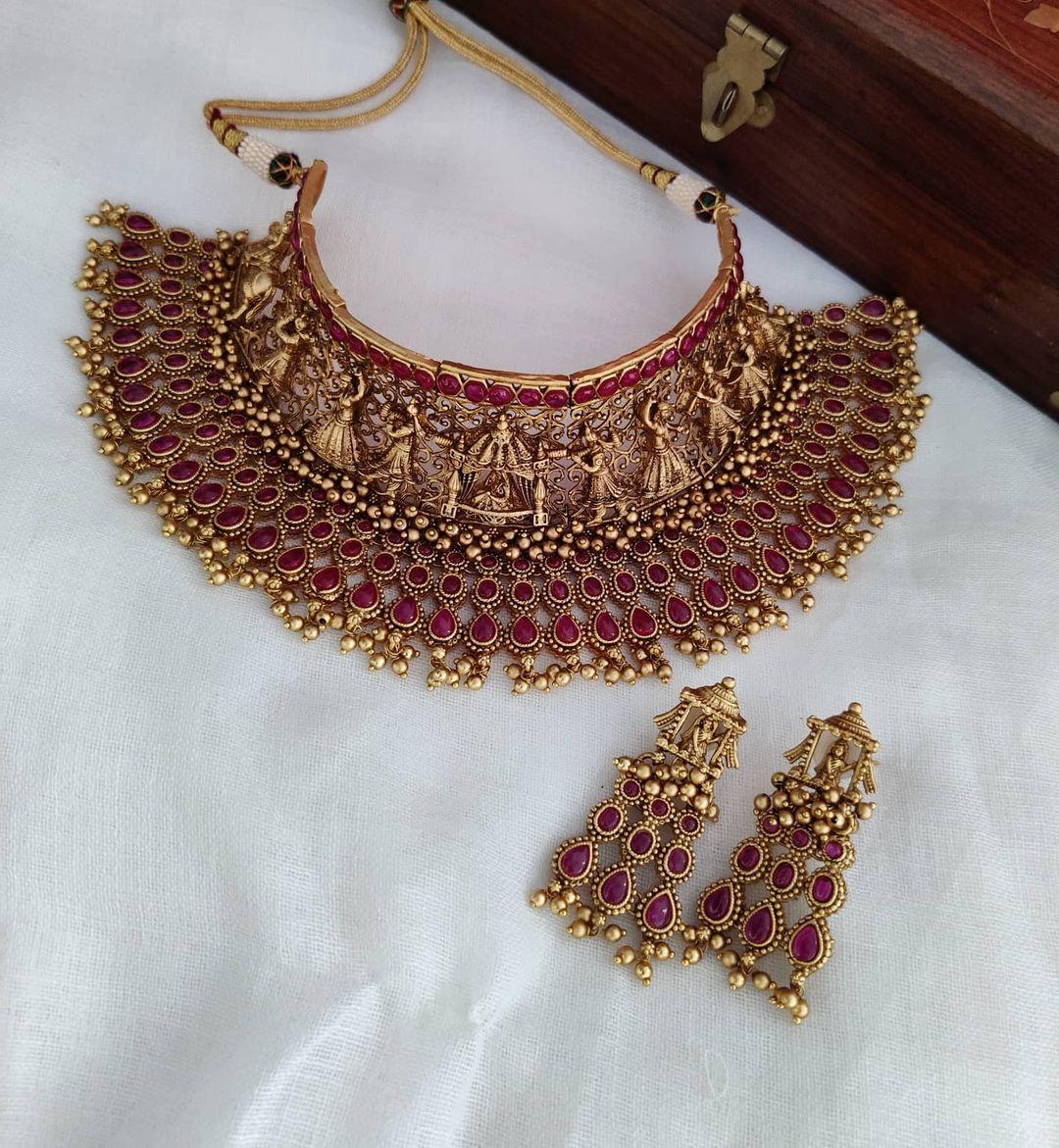 heavy-bridal-choker-necklace-set