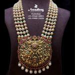 Pearl Mala With Gold Nakshi Kundan Pendant