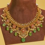 Ruby Emerald Polki Gold Necklace