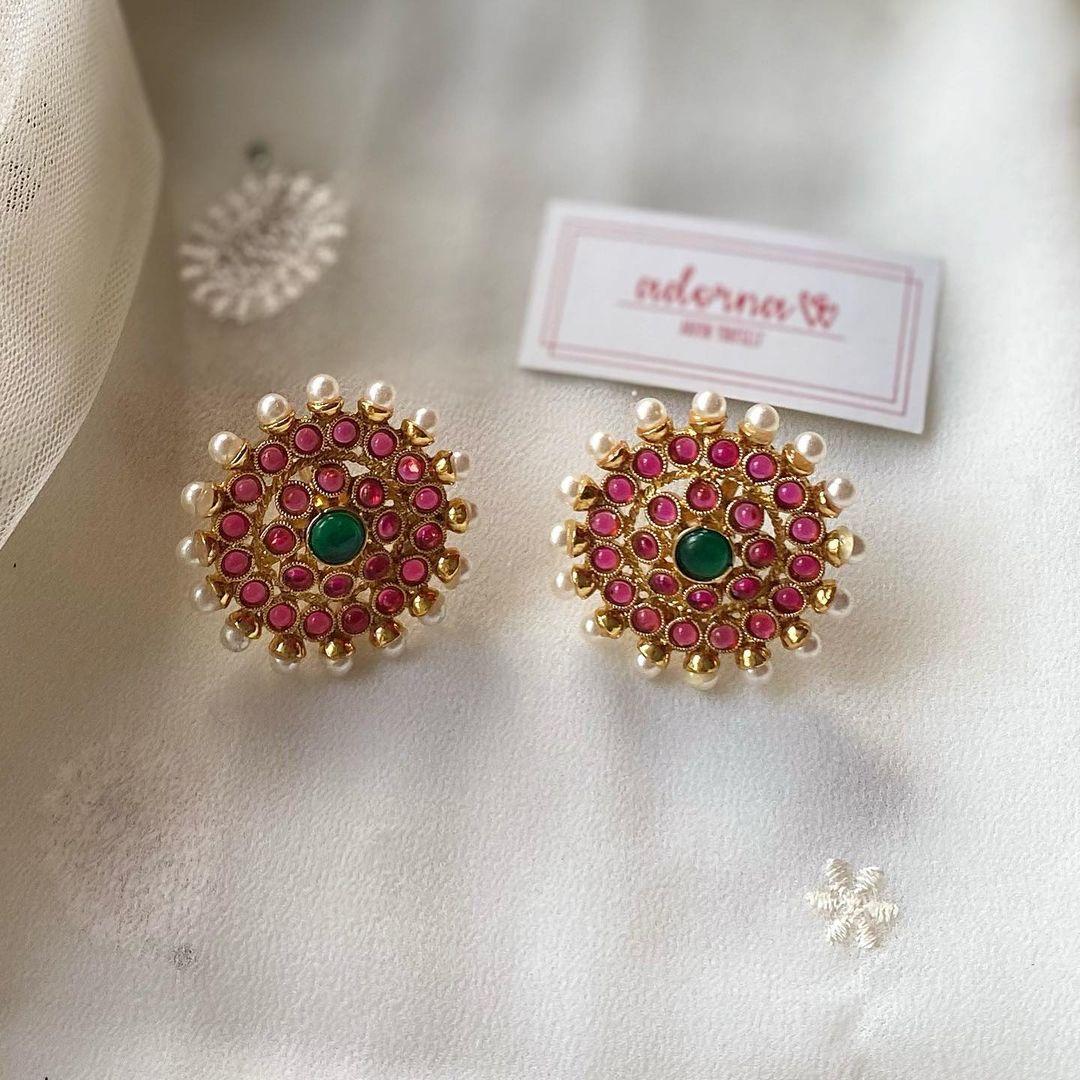 ruby-pearls-stud-earrings