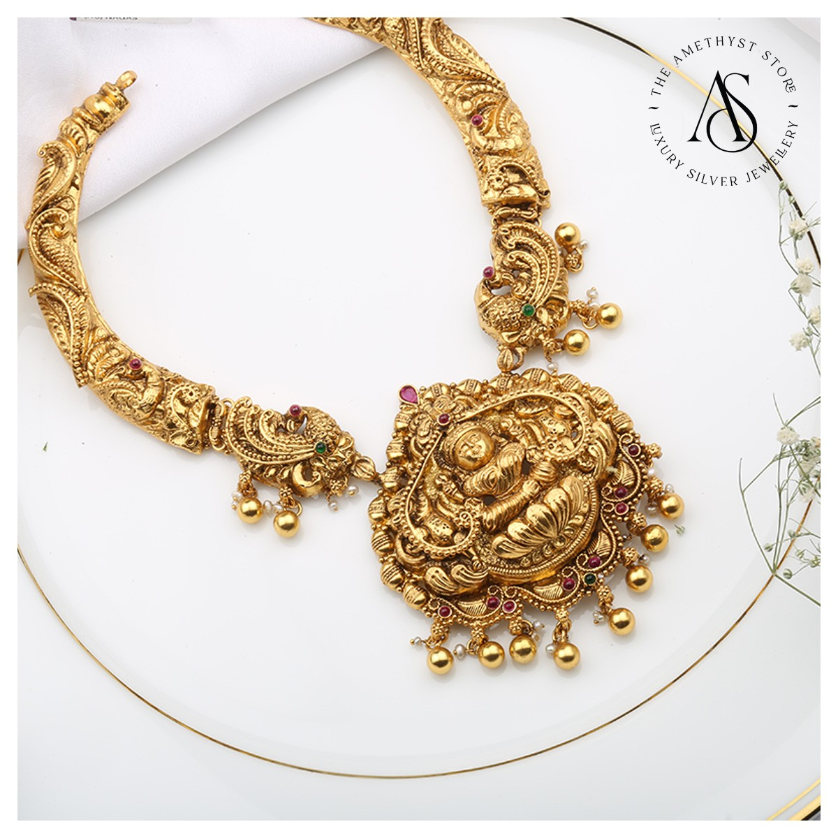 silver-gold-plated-antique-necklace