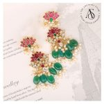 Semi Precious Kundan And Pearls Earrings