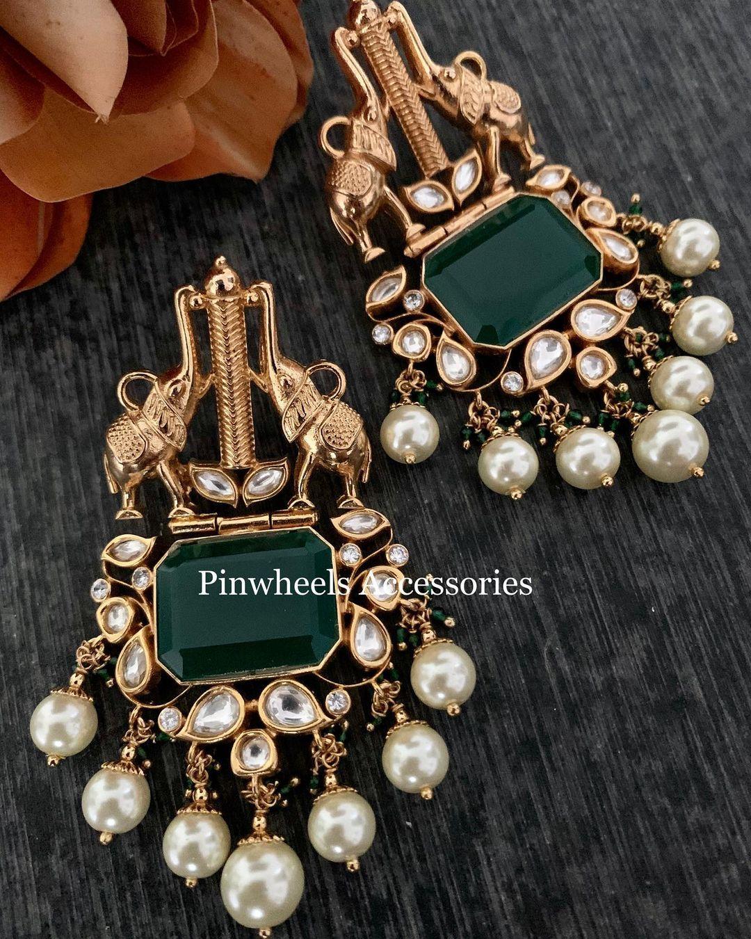 elephant-design-earring-pearl-drops