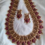 Beautiful Mahalakshmi Haram In Red Stones By Posh Jewellery!