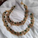 Beautiful Antique Bridal Green Stone Anklet By The Posh Jewellery!
