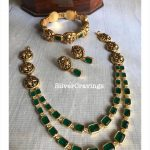 Emeralds Peacock Nakshi Necklace Set By Silver Cravings Jewellery