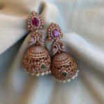 Intricately Designed American Diamond Peacock Jhumkas By Daivik