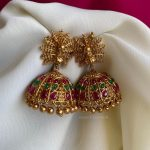 Red And Green Kemp Imitation Jhumkas