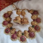 Red And Green Lakshmi Temple Necklace Set