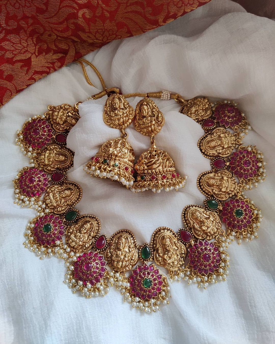 red-green-lakshmi-temple-necklace-set