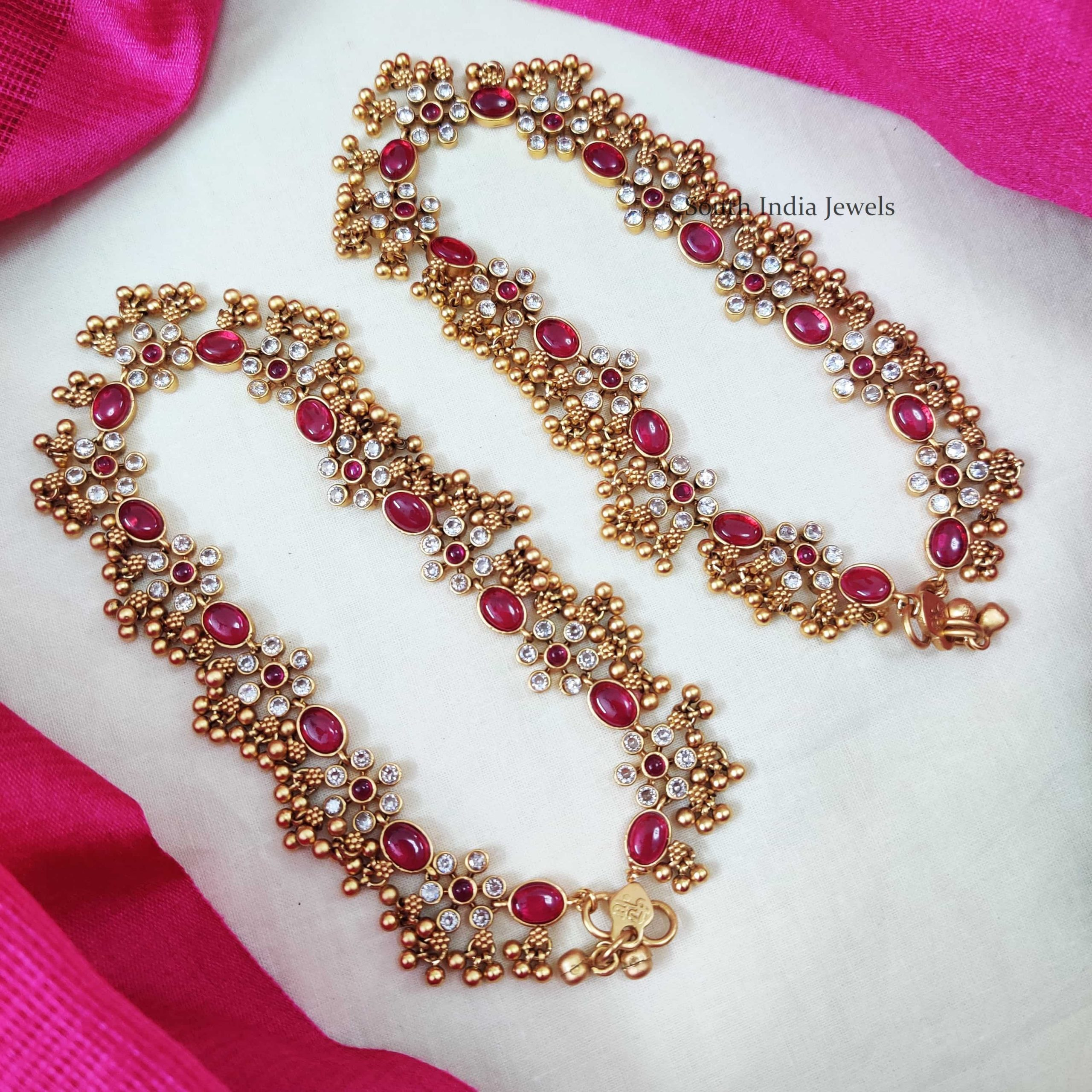 Beautiful-Pink-White-Stone-Anklets