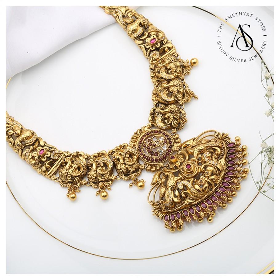 intricate-peacock-design-temple-necklace