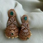 Stone Studded American Diamond Peacock Jhumkas By Daivik