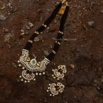 Beautiful Dual Peacock Black Beads Haram By South India Jewels!