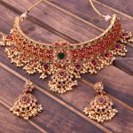 Elegant Real Kemp Guttapusalu Choker By South India Jewels!