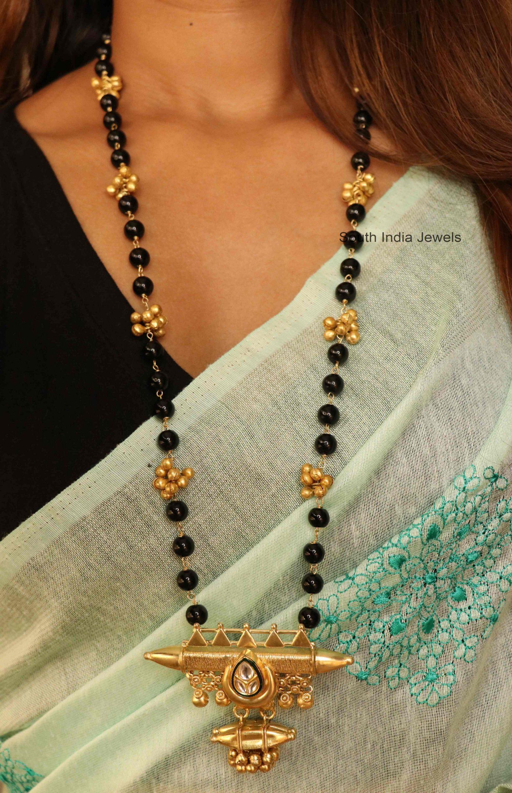 Fancy-Black-Beads-Kundan-Long-Chain
