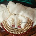 Grand Red And White Kundan Choker Set By South India Jewels!