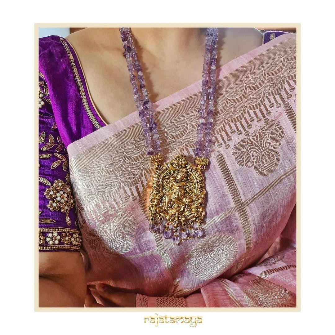 Krishna Nakshi pendant in amethyst beads