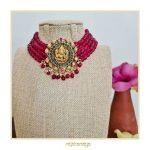 Nagas Ganesha Choker With Red Jade Beads By Rajatamaya!