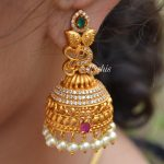 Matte Finish Peacock Design Pearl Jhumka By South India Jewels!