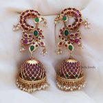 Long Statement Peacock Jhumkas By South India Jewels!