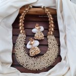 Stunning Matte Finish Pearl Cluster Necklace By South India Jewels!
