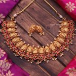 Mahalakshmi Red & Green Stone Necklace By South India Jewels!