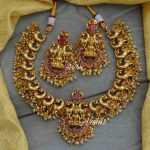 Kemp Stone Peacock Design Lakshmi Pendant Necklace By South India Jewels!