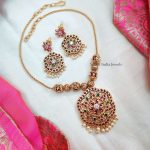 Classic Kemp Stone Pendant Necklace By South India Jewels!
