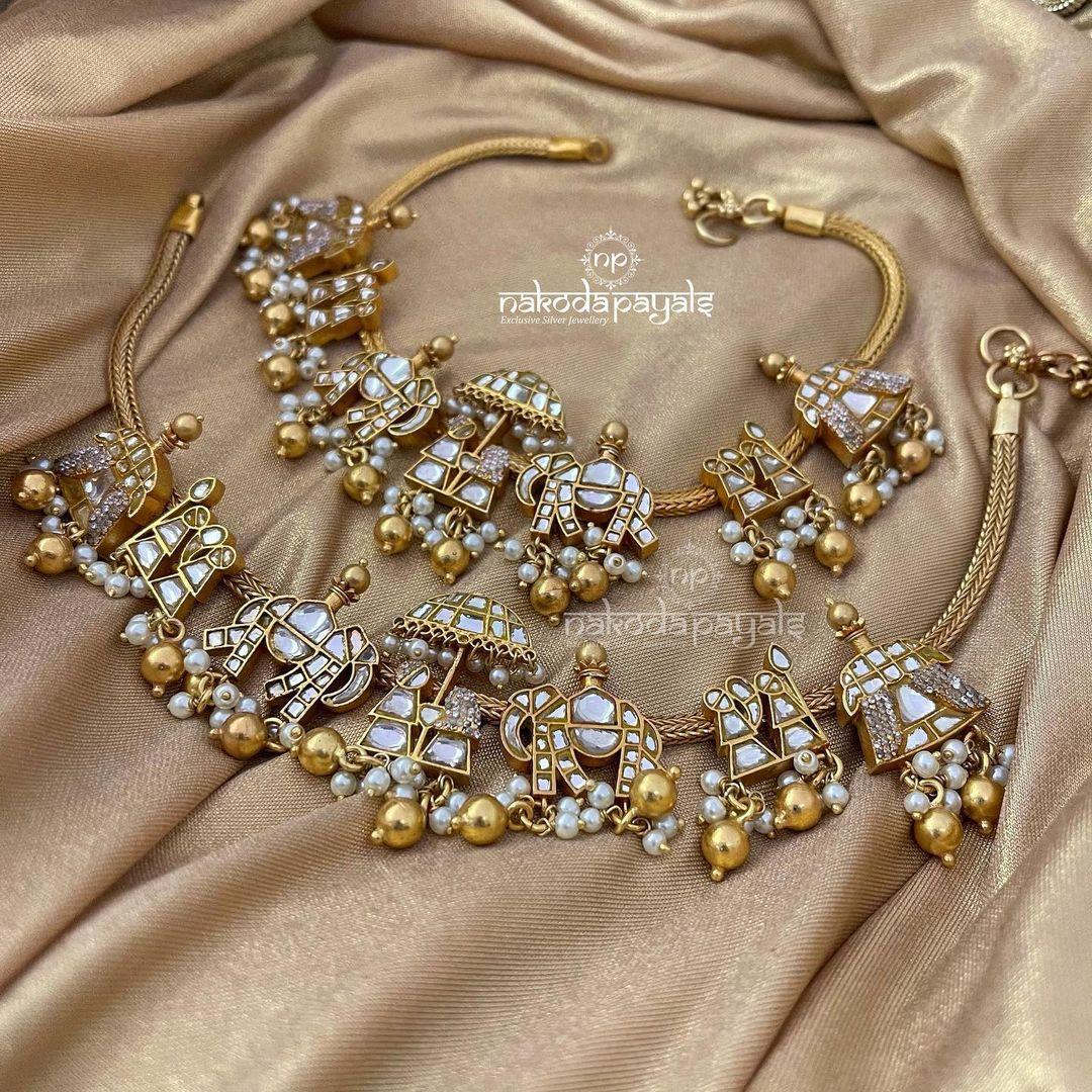 silver baarat doli bridal anklets