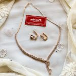 Rose Gold Eternal Knot Necklace Set By Adorna Chennai!