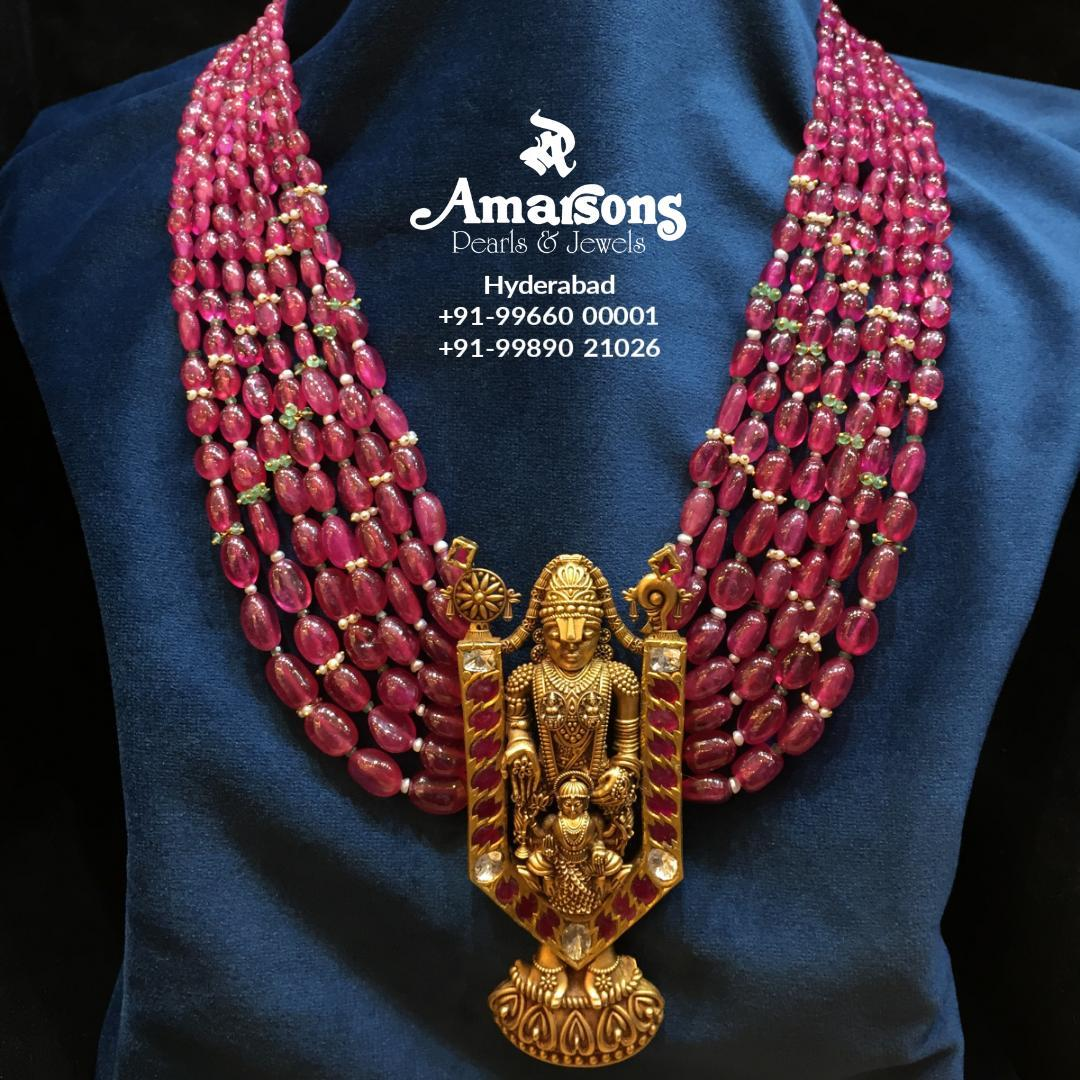 Balaji Gold Locket with Ruby Mala