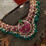 Semi Precious Ruby And Emerald Necklace by Garv Silver Jewellery!