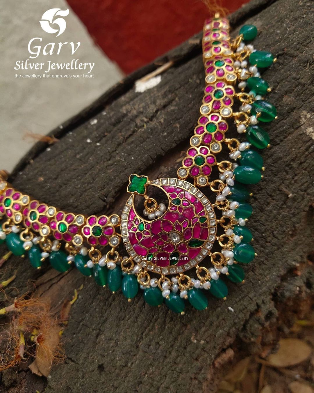 Semi precious Ruby and emerald Necklace