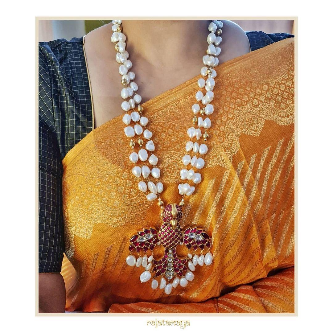 Garuda Kundan Pearl Pendant Necklace