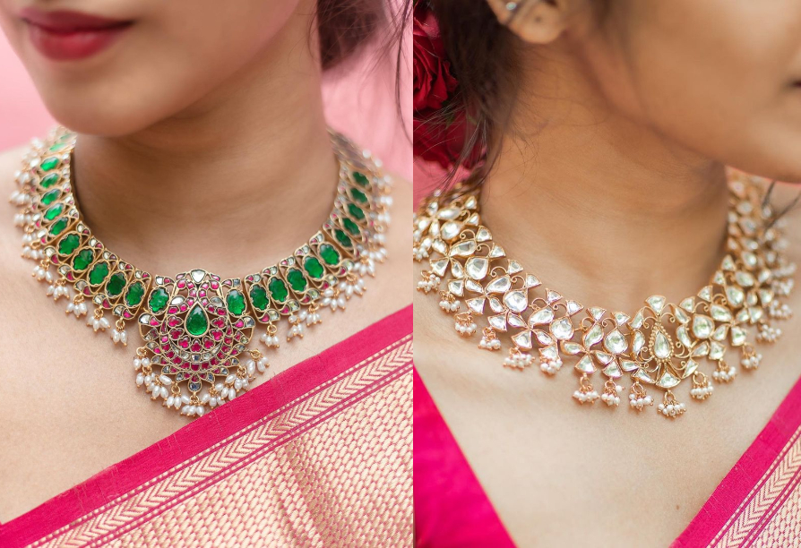 Kundan Necklace With Pearl Droppings