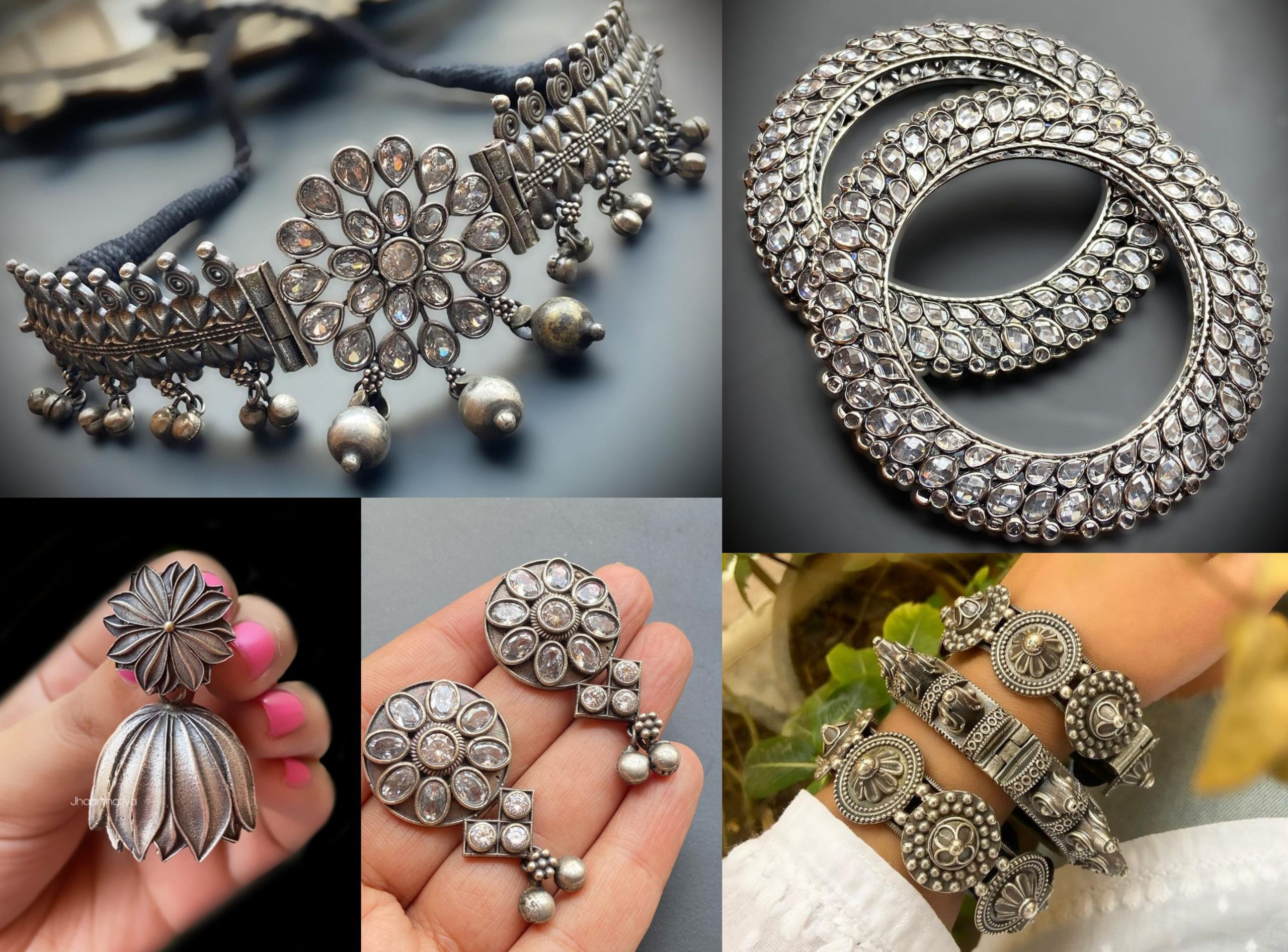 Stone Studded Antique Silver Collection