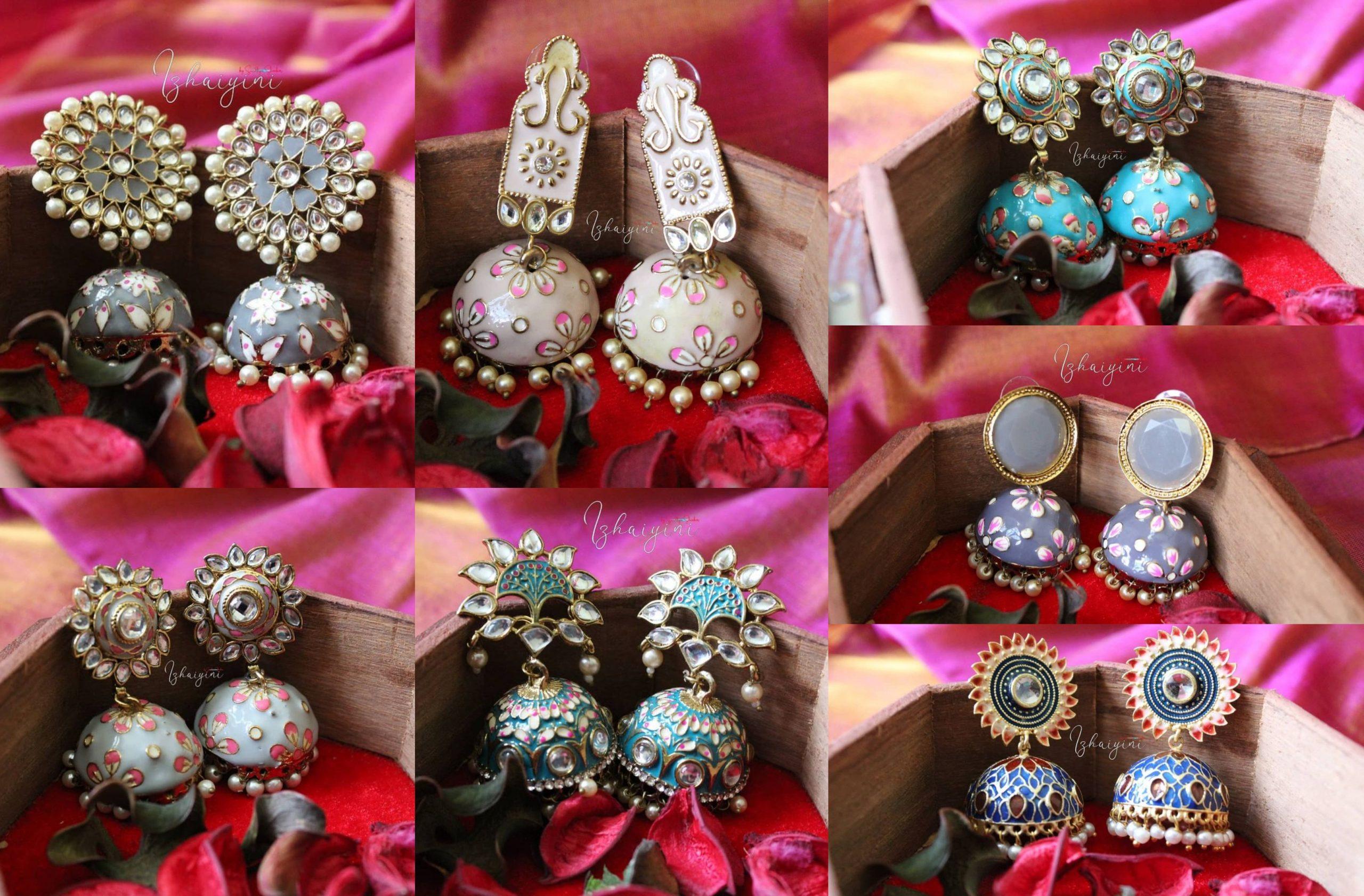 Meenakari Jhumka Collection by Izhaiyini Jewelry